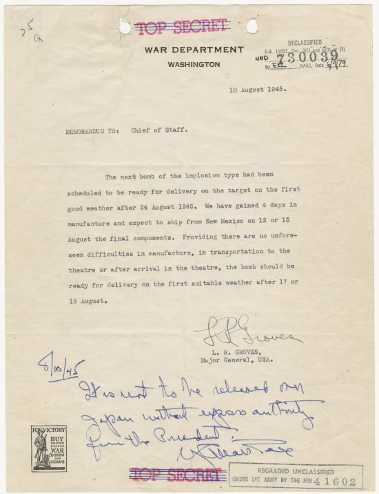 Groves memo about readiness of 3rd atomic bomb, August 10, 1945