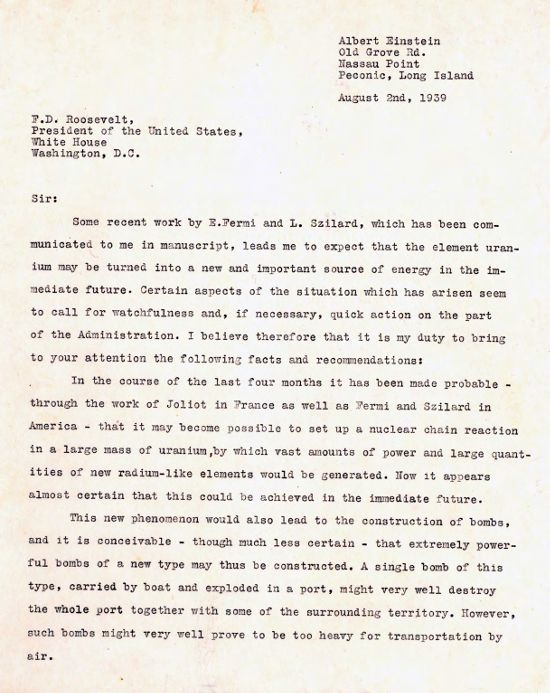 einstein s letter to roosevelt  image of einstein letter to fdr 2 1939 page 1