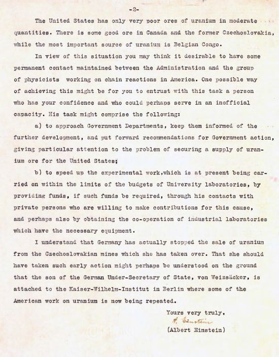 Einsteins Letter To Roosevelt August   Image Of Einstein Letter To Fdr August    Page  Essays On Science also Topics For Argumentative Essays For High School  Examples Of High School Essays