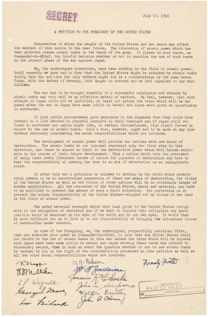 Leo Szilard petition, July 17, 1945